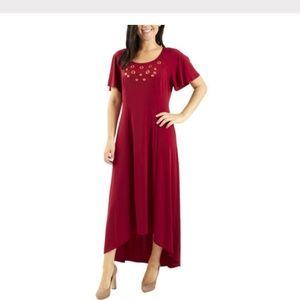 NY COLLECTION GROMMET FLUTTER HI-LOW MAXI DRESS PS